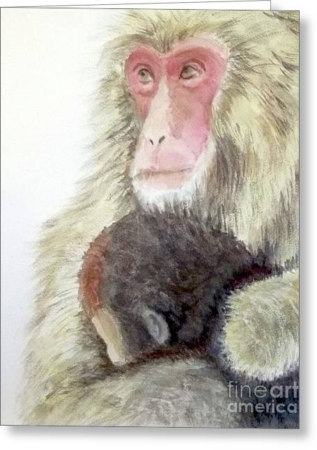 Animals Love Greeting Cards - Monkey baby and mom Greeting Card by Yoshiko Mishina