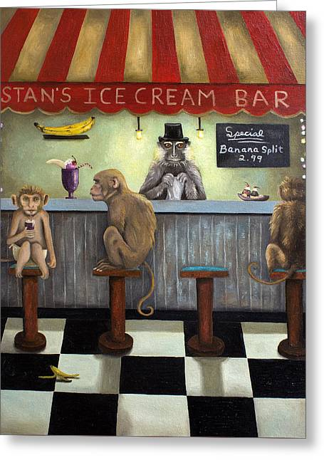 Children Ice Cream Greeting Cards - Monkey Business Greeting Card by Leah Saulnier The Painting Maniac