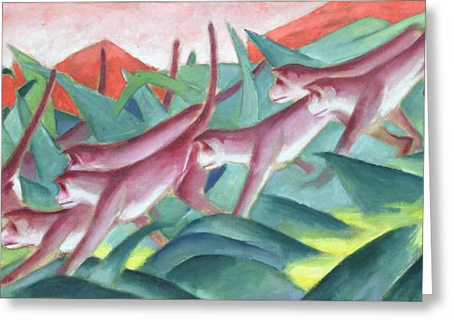 Abstract Shapes Greeting Cards - Monkey Frieze Greeting Card by Franz Marc