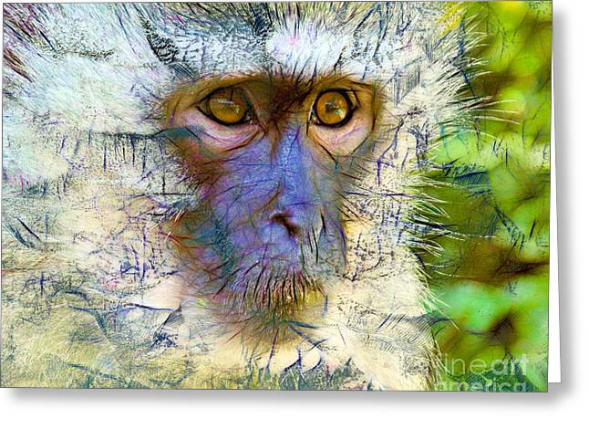 Printmaking Greeting Cards - Monkey Greeting Card by Laura L Leatherwood