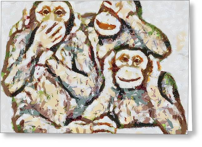 Print On Canvas Greeting Cards - Monkey See Monkey Do Fragmented Greeting Card by Catherine Lott