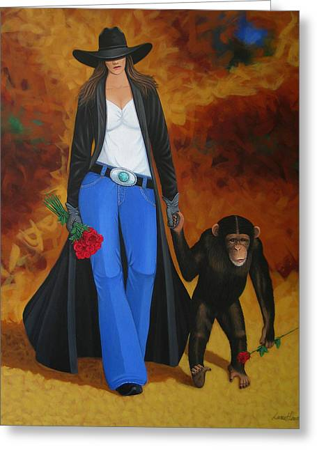 Modern Western Greeting Cards - Monkeys Best Friend Greeting Card by Lance Headlee