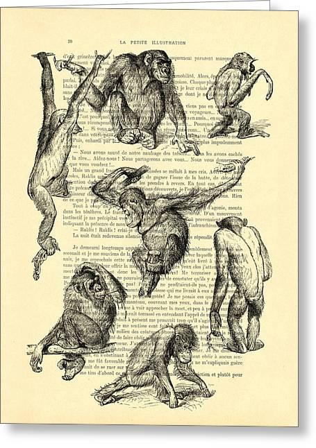 Monkeys Black And White Illustration Greeting Card by Madame Memento