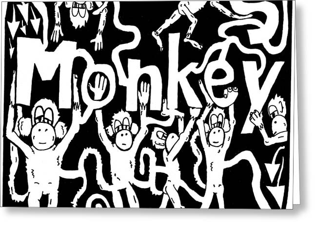 Yonatan Mixed Media Greeting Cards - Monkeys Maze for M Greeting Card by Yonatan Frimer Maze Artist