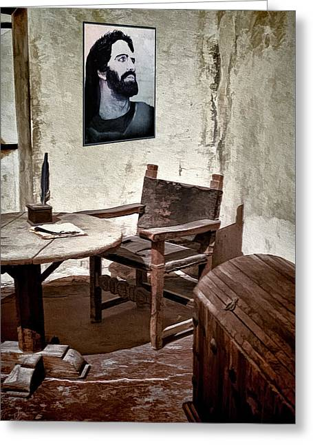 Table And Chairs Mixed Media Greeting Cards - Monks Cell Greeting Card by Pennie  McCracken
