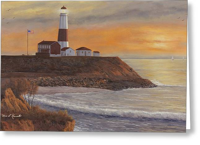 Sunset Prints Greeting Cards - Monntauk Lighthouse sunset Greeting Card by Diane Romanello