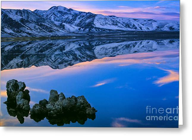 Tufa Greeting Cards - Mono Lake Twilight Greeting Card by Inge Johnsson