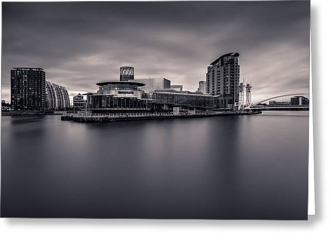 England Greeting Cards - Mono - The Lowry Centre. Greeting Card by Daniel Kay
