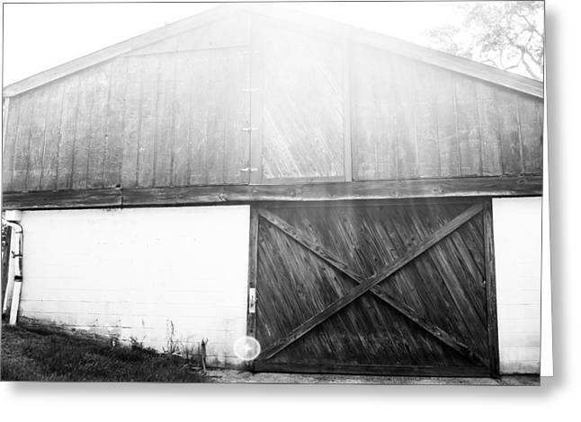Warm Summer Greeting Cards - Monochrome Barn Greeting Card by Shelby  Young