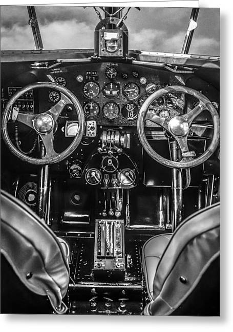 Tin Goose Greeting Cards - Monochrome Cockpit Greeting Card by Chris Smith