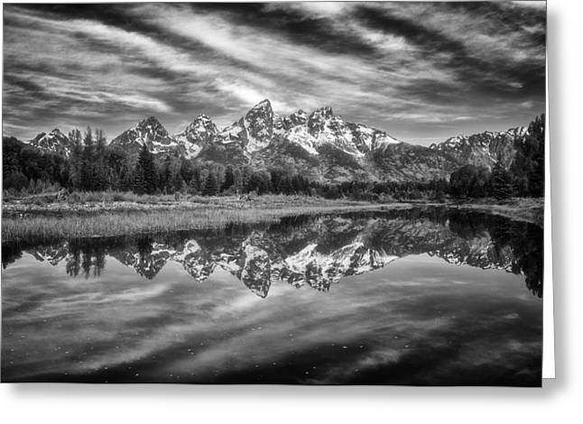 Rugged Mountains Greeting Cards - Monochrome Magic in the Tetons Greeting Card by Darren  White