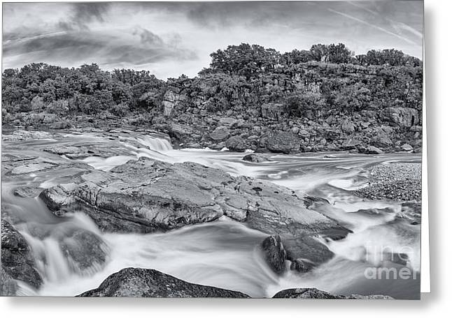 Monochrome Panorama Of Pedernales Falls State Park - Texas Hill Country Greeting Card by Silvio Ligutti