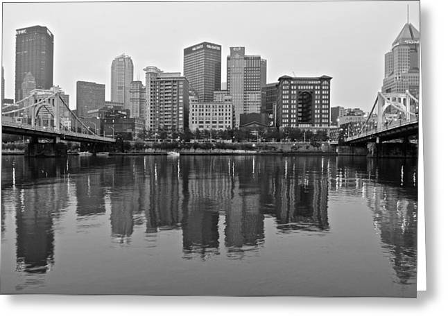 Incline Greeting Cards - Monochrome Pittsburgh Greeting Card by Frozen in Time Fine Art Photography