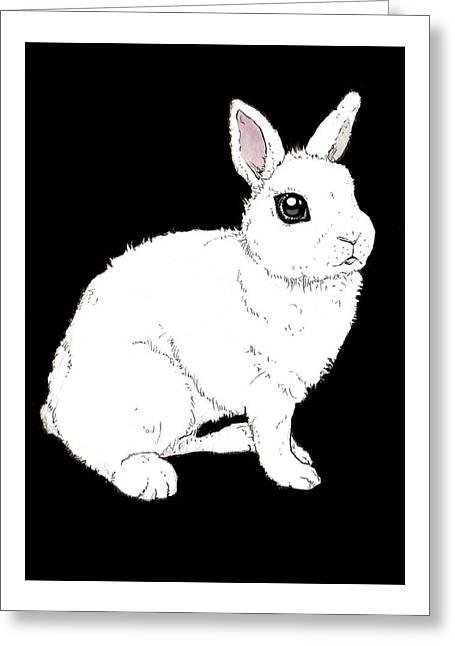 Monochrome Rabbit Greeting Card by Katrina Davis