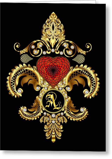 Divorce Greeting Cards - Monogram A Style 2 Duvets Transparent Back Pick Color Greeting Card by Bill Campitelle