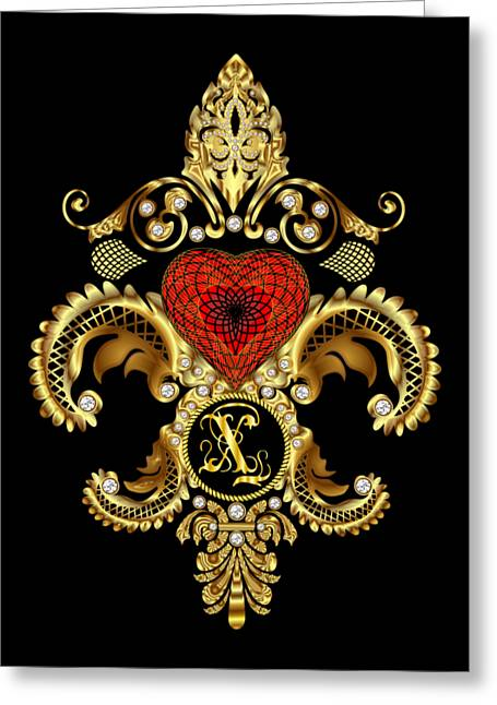 Sweethart Greeting Cards - Monogram X Style 2 Duvets Transparent Back Pick Color Greeting Card by Bill Campitelle