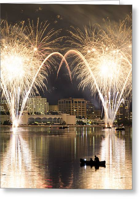 Lake Mendota Greeting Cards - Monona Terrace Firework Arch Greeting Card by Gregory Payne