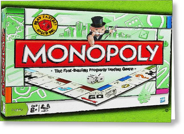 Family Time Greeting Cards - Monopoly Board Game Painting Greeting Card by Tony Rubino