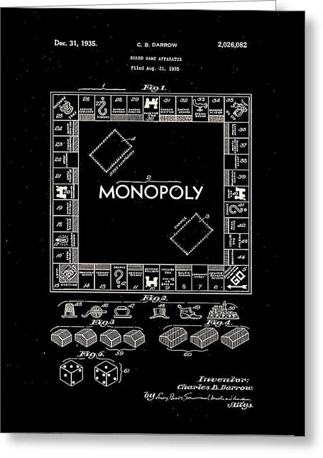 Monopoly Greeting Cards - Monopoly Board Patent 1935 Greeting Card by Claire  Doherty