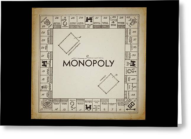 Board Game Greeting Cards - Monopoly Board Patent Vintage Greeting Card by Terry DeLuco