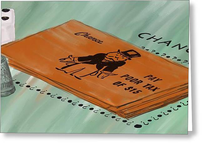 Board Game Greeting Cards - Monopoly Chance Greeting Card by Paul Freidlund