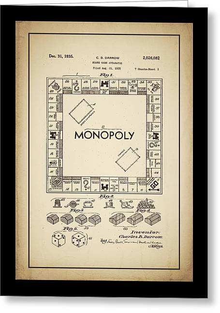 Board Game Greeting Cards - Monopoly Patent 1935 Vintage Border Greeting Card by Terry DeLuco