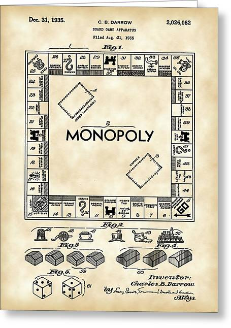 Best Sellers -  - Monopoly Greeting Cards - Monopoly Patent 1935 - Vintage Greeting Card by Stephen Younts