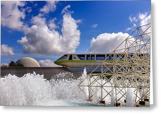 Epcot Center Greeting Cards - Monorail and Spaceship Earth Greeting Card by Chris Bordeleau