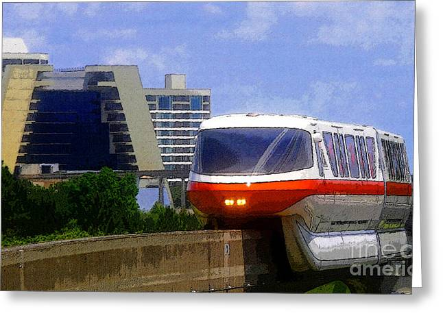 Theme Parks Greeting Cards - Monorail Greeting Card by David Lee Thompson