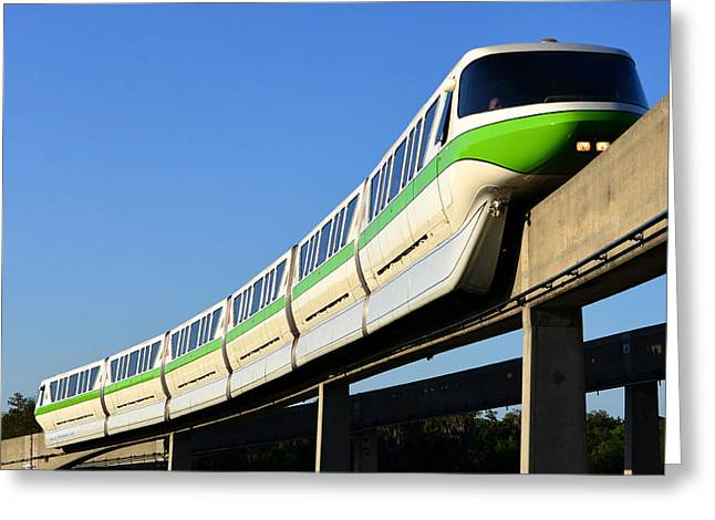 Monorail Greeting Cards - Monorail Green Greeting Card by David Lee Thompson