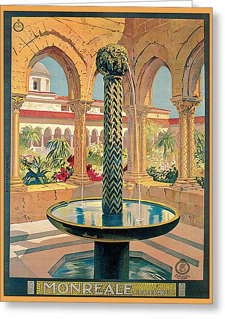 Landscape Posters Greeting Cards - Monreale Palermo Greeting Card by Vittorio Grassi