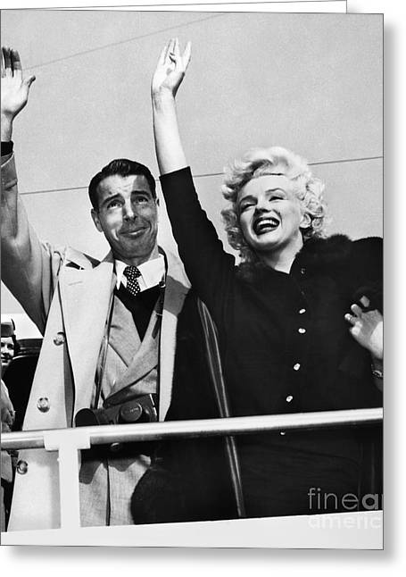 Starlet Photographs Greeting Cards - MONROE & DIMAGGIO, c1954 Greeting Card by Granger