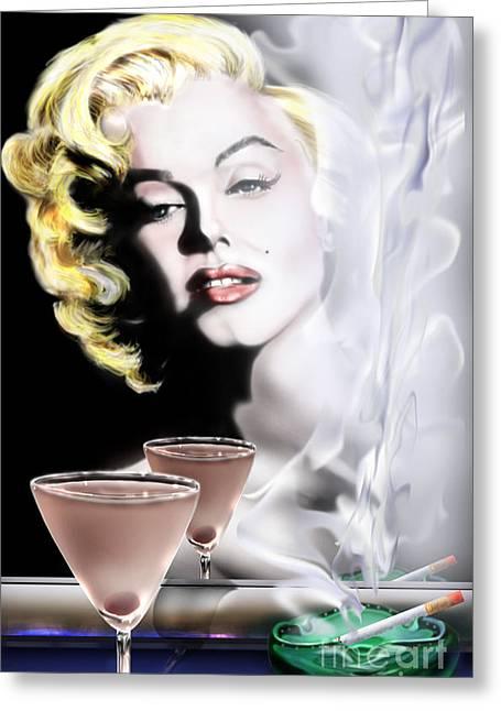 Norma Jean Baker Greeting Cards - Monroe-Seeing Beyond Smoke-N-Mirrors Greeting Card by Reggie Duffie