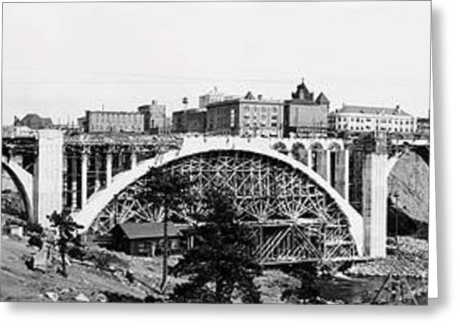 """spokane Falls"" Greeting Cards - Monroe St Bridge Construction - Spokane 1911 Greeting Card by Daniel Hagerman"