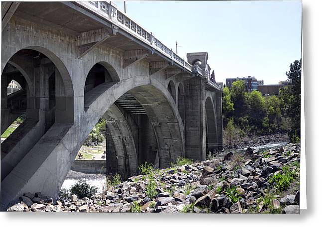 Spokane Greeting Cards - MONROE ST BRIDGE from CENTENNIAL TRAIL Greeting Card by Daniel Hagerman