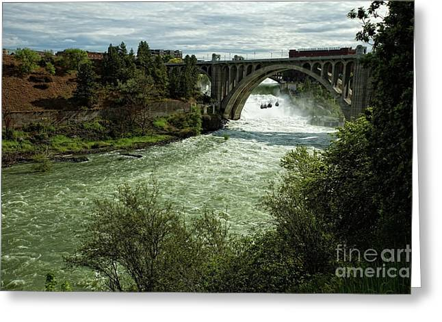 """spokane Falls"" Greeting Cards - Monroe Street Bridge - Spokane Falls Greeting Card by Reflective Moment Photography And Digital Art Images"