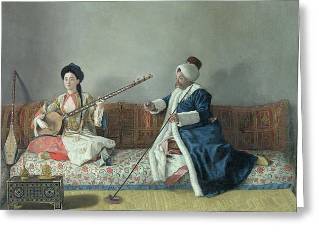 Playing Musical Instruments Greeting Cards - Monsieur Levett and Mademoiselle Helene Glavany in Turkish Costumes Greeting Card by Jean Etienne Liotard