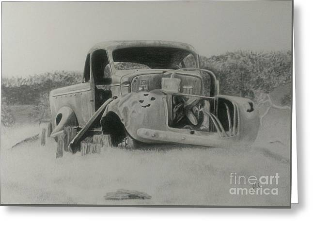 Rusted Cars Drawings Greeting Cards - Monsildale Truck Greeting Card by Robyn Garnet