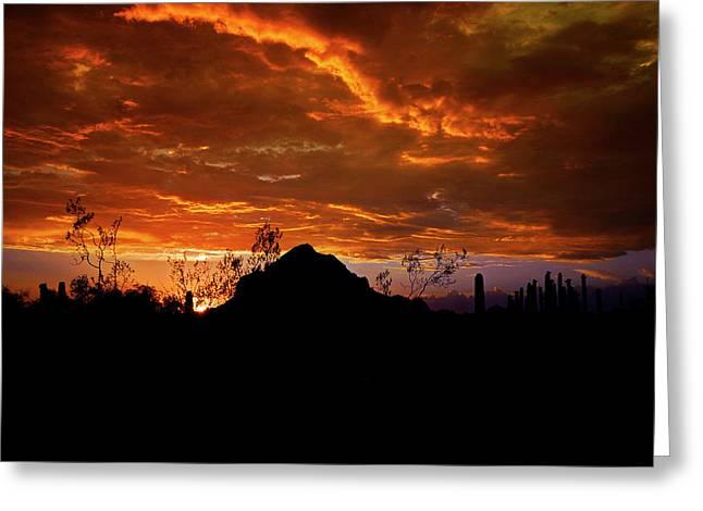 Monsoon Sunset  Greeting Card by Saija  Lehtonen