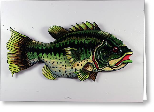 Fish Sculptures Greeting Cards - Monster Bass Greeting Card by Bob Crawford