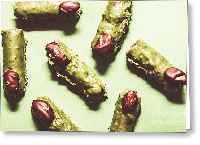 Monster Fingers Halloween Candy Greeting Card by Jorgo Photography - Wall Art Gallery