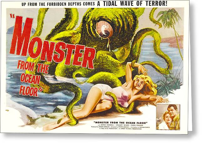 Monster From The Ocean Floor Retro Movie Poster Up From The Forbidden Depths Comes A Tidal Terror Greeting Card by R Muirhead Art