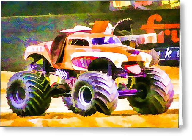 American Automobiles Paintings Greeting Cards - Monster Mutt Greeting Card by Lanjee Chee