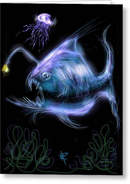 Jelly Fish Digital Art Greeting Cards - Monster of the Deep Greeting Card by Russell Pierce