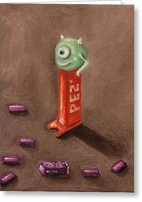 Pez Greeting Cards - Monster Pez Greeting Card by Leah Saulnier The Painting Maniac