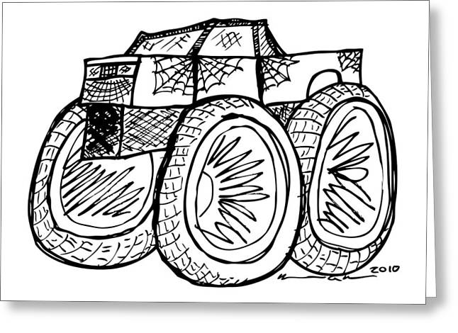 Spiderweb Art Greeting Cards - Monster Truck Greeting Card by Karl Addison