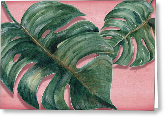 Monstera Leaf  Greeting Card by Mark Ashkenazi