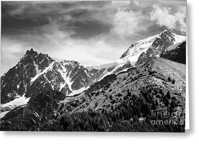 Geology Photographs Greeting Cards - Mont Blanc and the Aiguilles de Chamonix range Rhone-Alpes France Europe Black and White Greeting Card by Jon Boyes