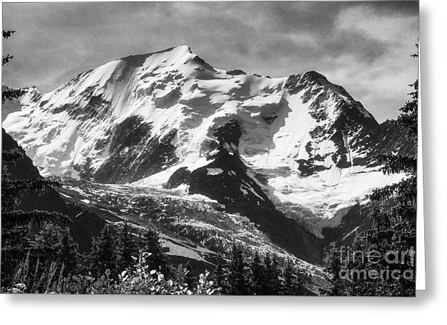 Geology Photographs Greeting Cards - Mont Blanc and the Glacier de Bionnassay French Alps France Europe Black and White Greeting Card by Jon Boyes