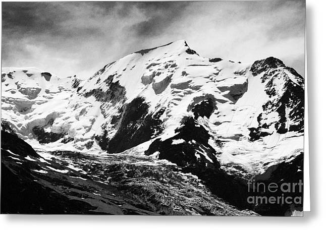 Geology Photographs Greeting Cards - Mont Blanc Dome de Gouter and Bionnassay glacier Mont Blanc massif France Europe Black and White Greeting Card by Jon Boyes